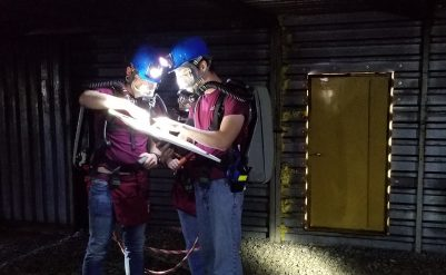 students during mine rescue test